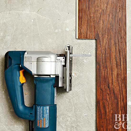 cut planks to fit with jigsaw