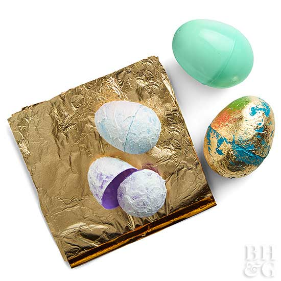 gilding easter eggs with gold foil