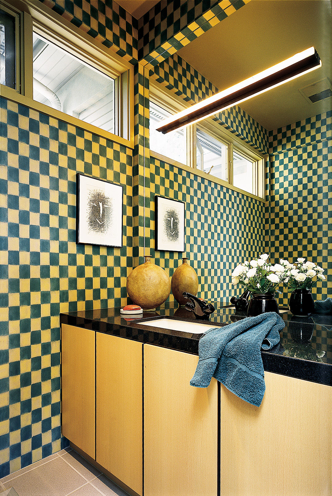 green and yellow check wall bathroom