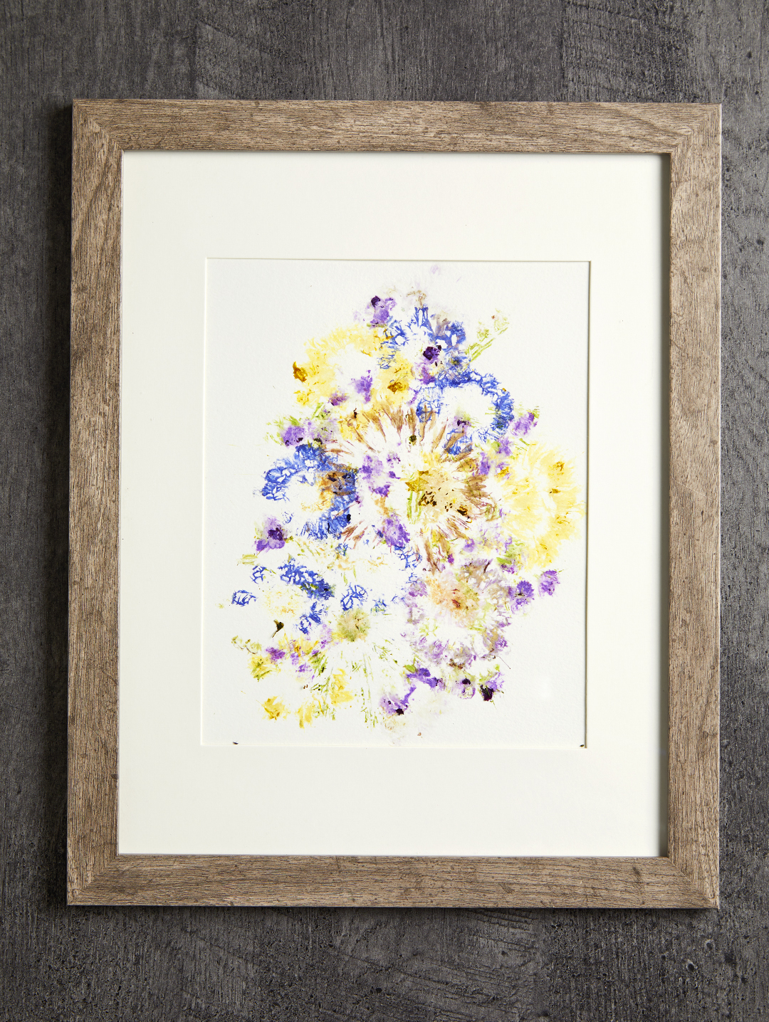 smashed flower colors in wooden frame