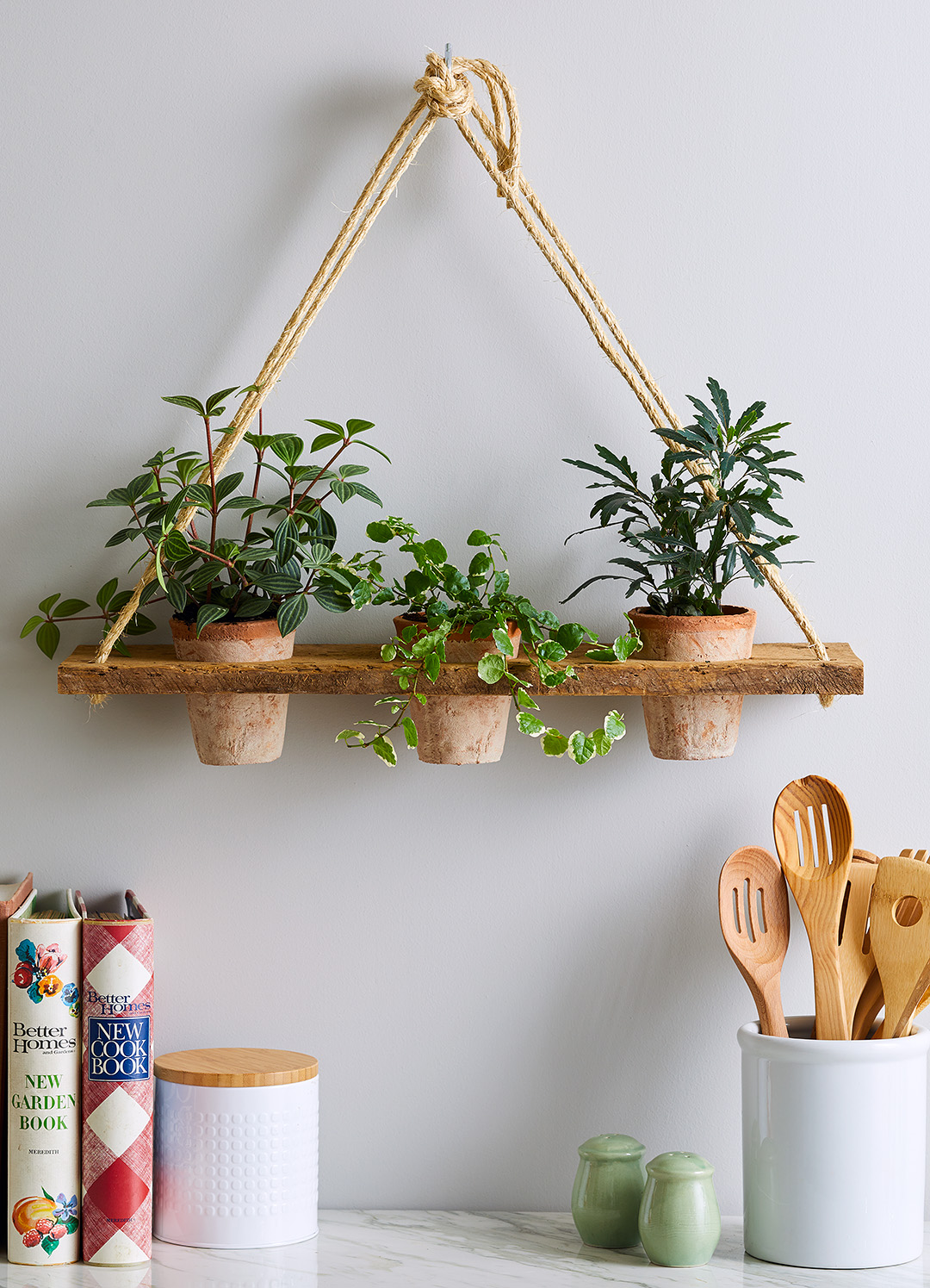finished hanging planter rope shelf