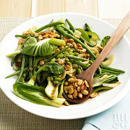 Spicy Green Stir-Fry with Peanuts