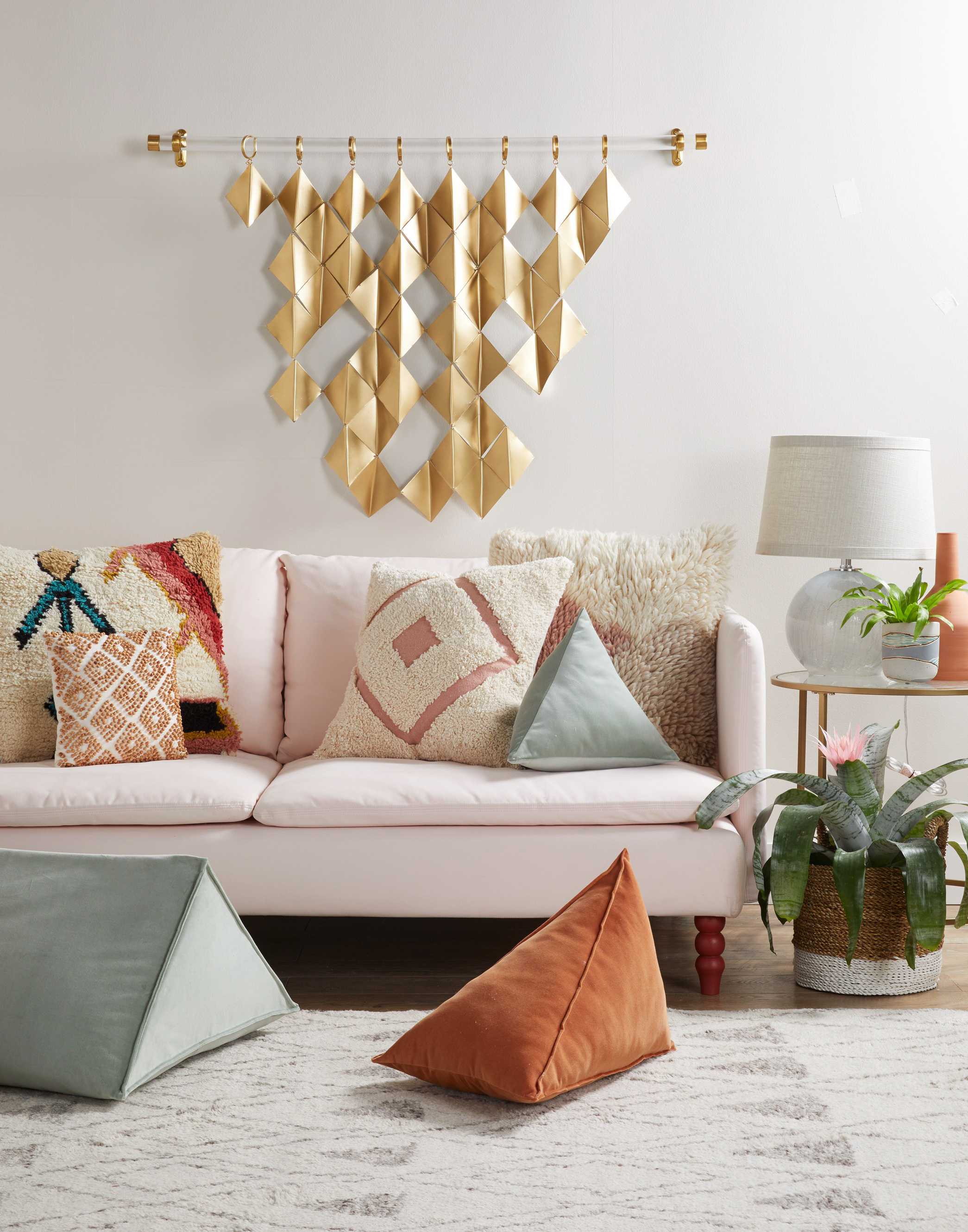 3D brass wall art geometric living room pink couch