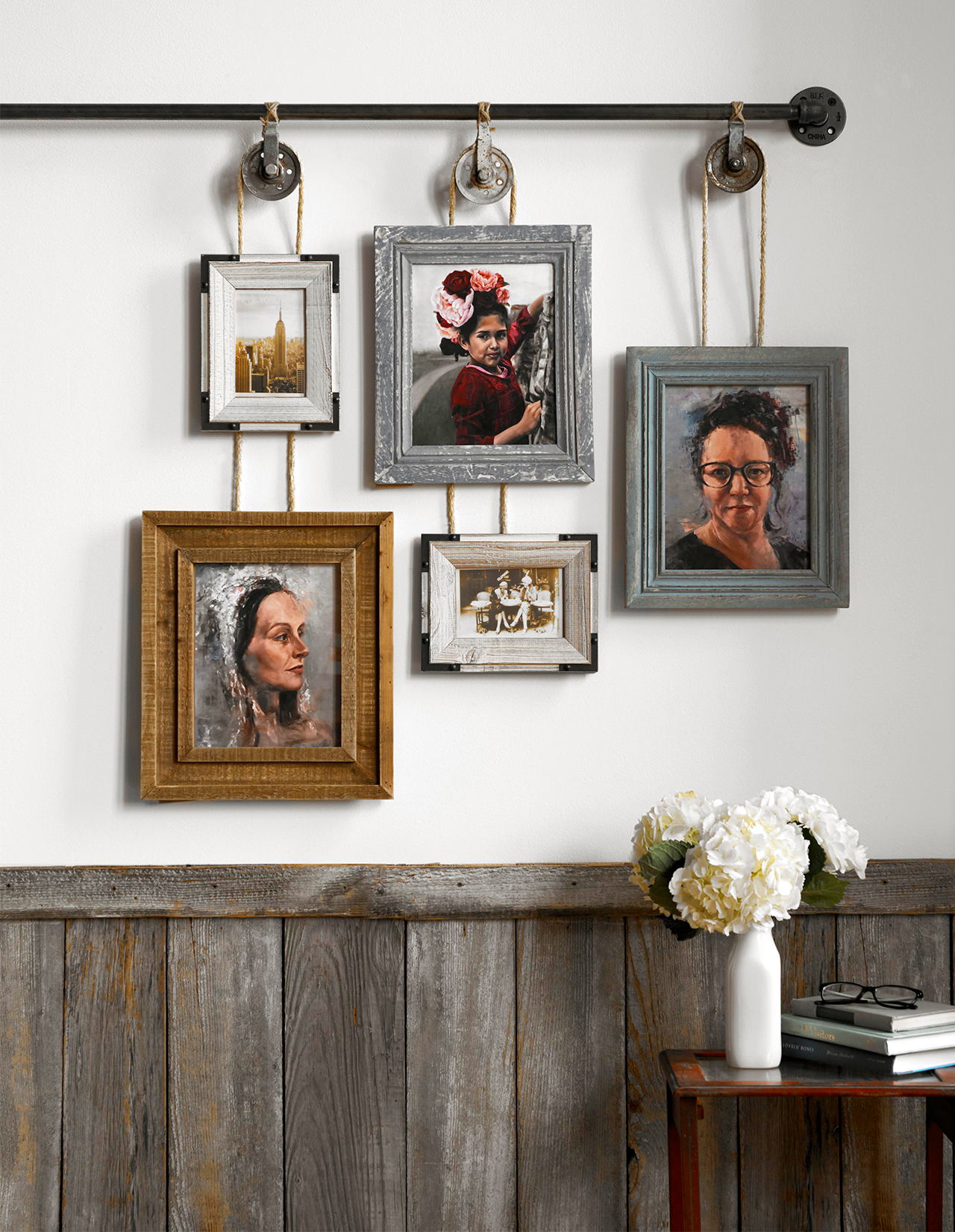 hanging picture frames with pulleys