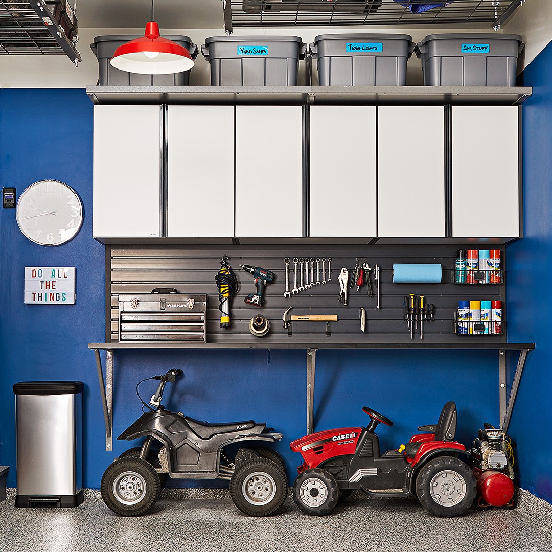 blue garage makeover tour after tools storage wall cupboards