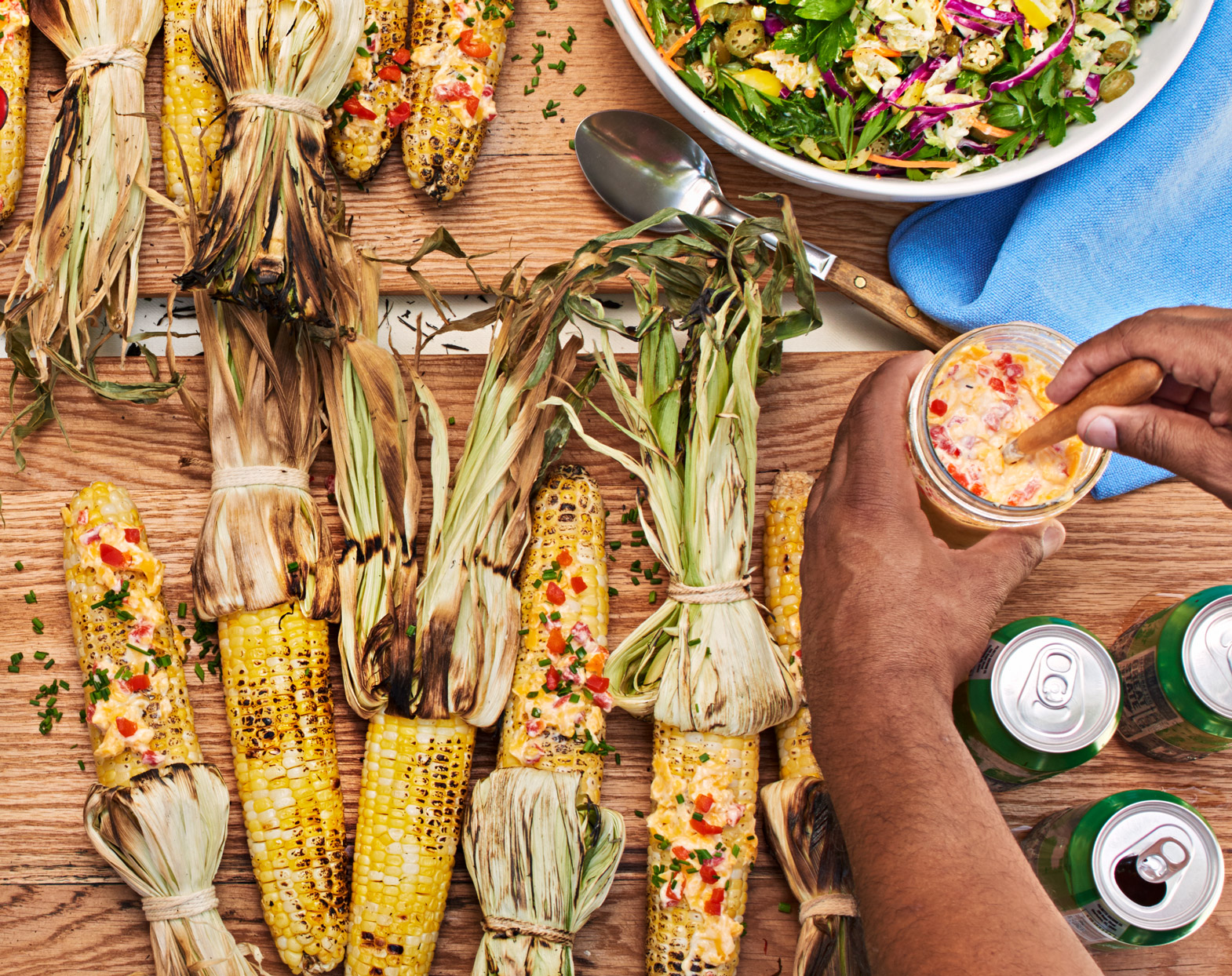 Grilled Corn with Pimiento-Cheese Butter
