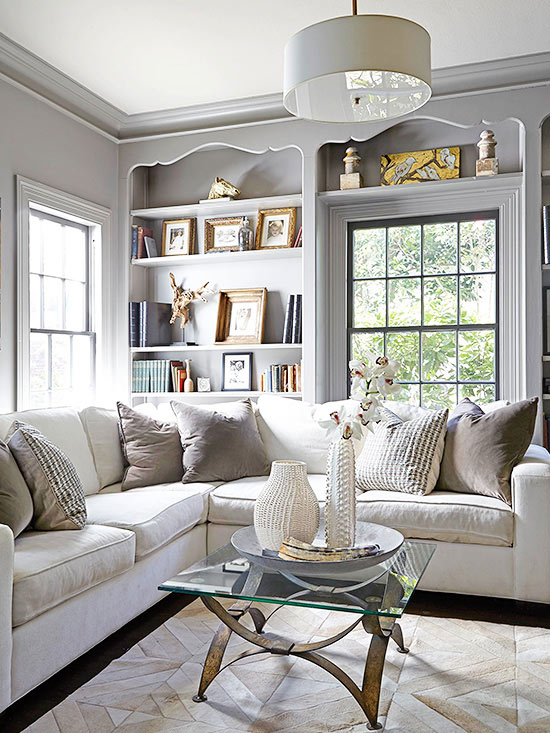 gray and white family room