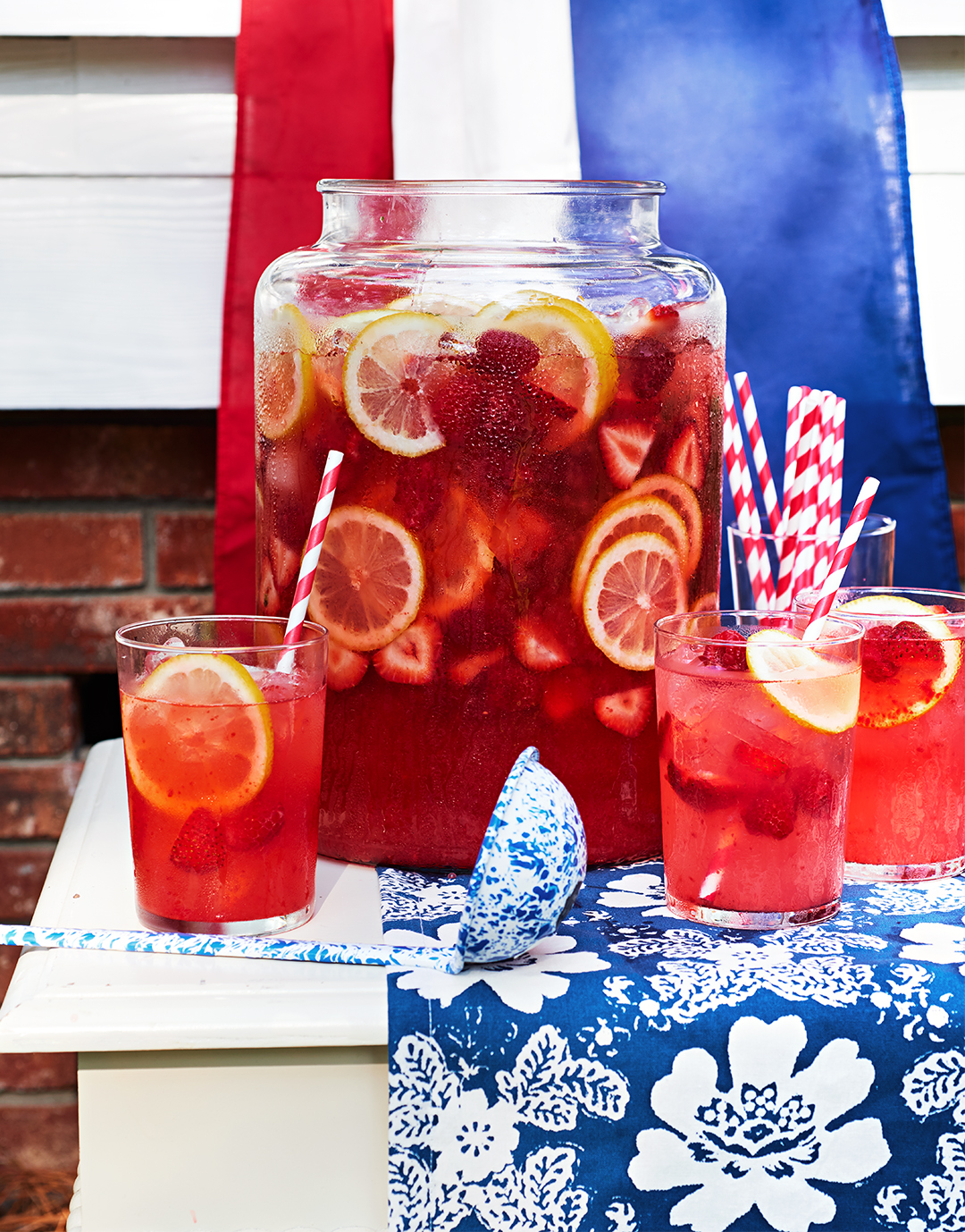 Berry Lemonade recipe picnic tumblers glass spoon patriotic