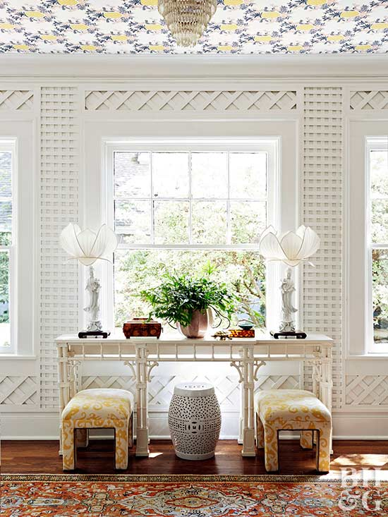 sideboard against wall with latticework