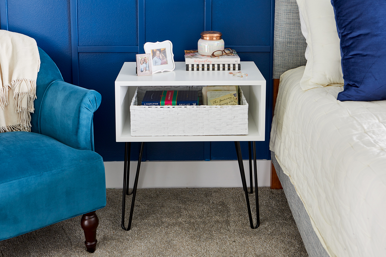white box side table with black metal legs