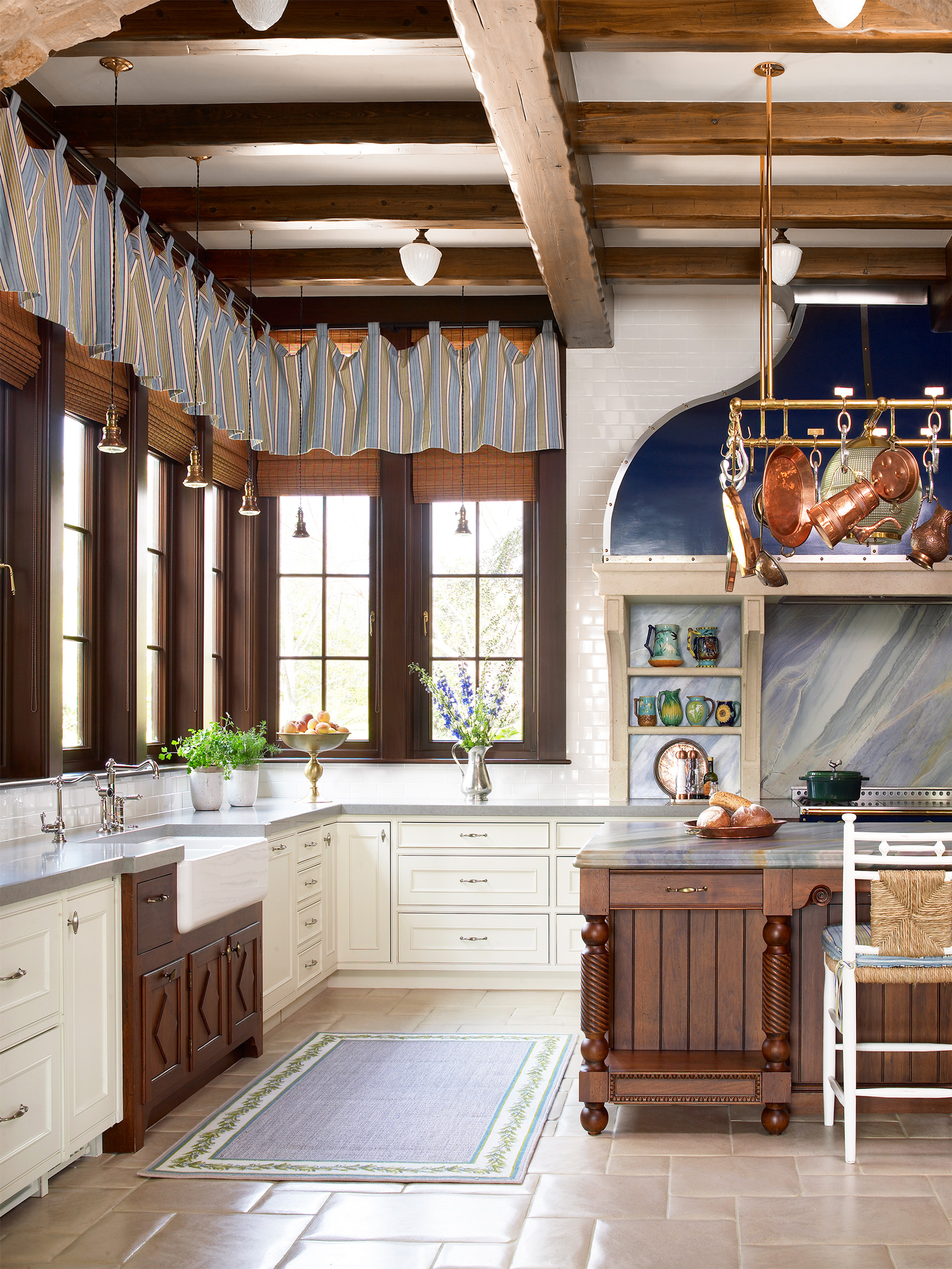 striped loop curtains in farmhouse style kitchen