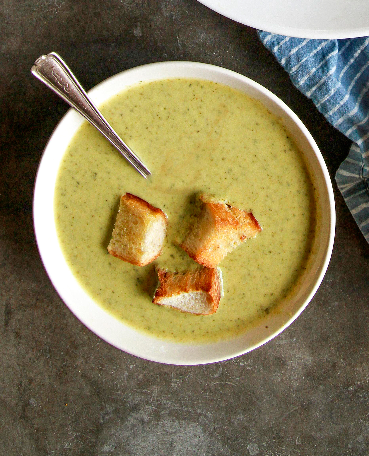 Curried Zucchini Soup with croutons