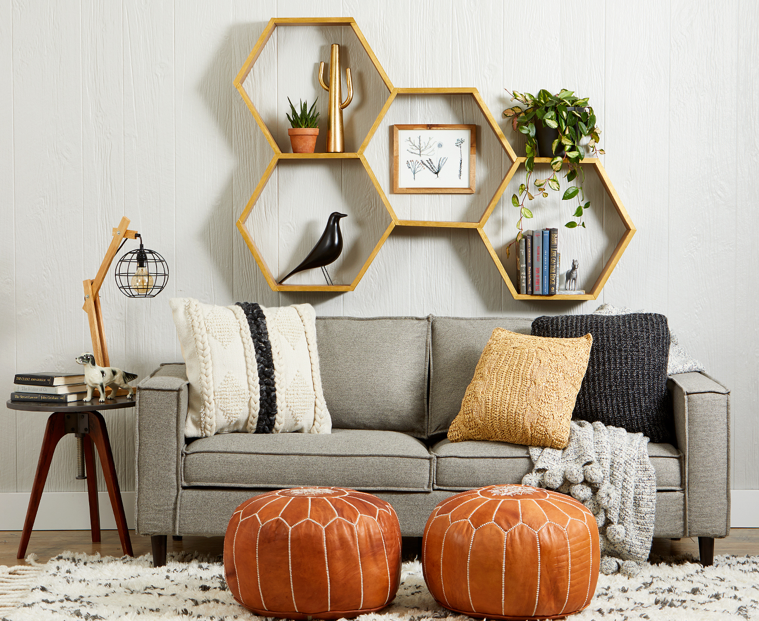 modern neutral room with hexagonal shelves