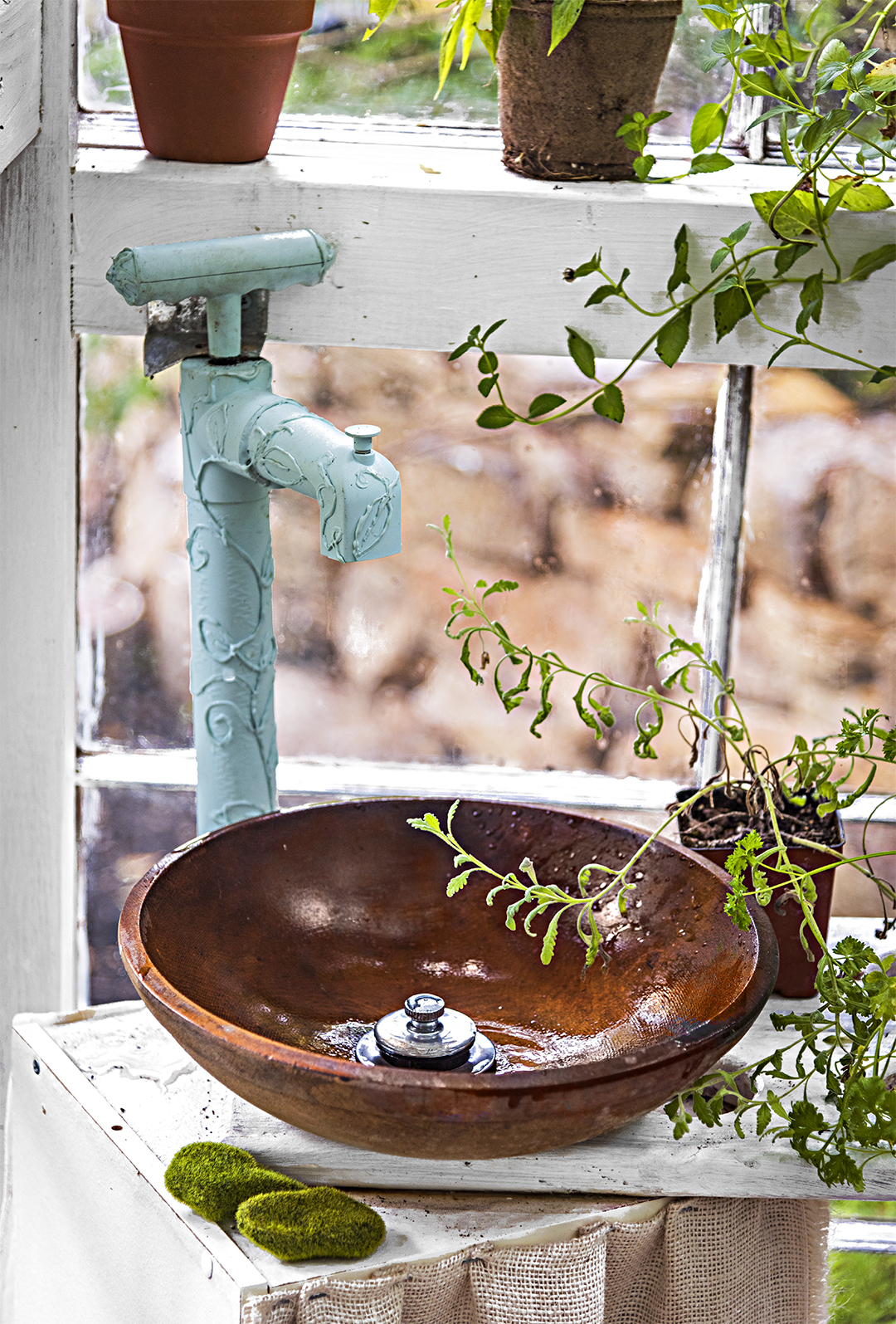 wooden bowl sink and turquoise faucet
