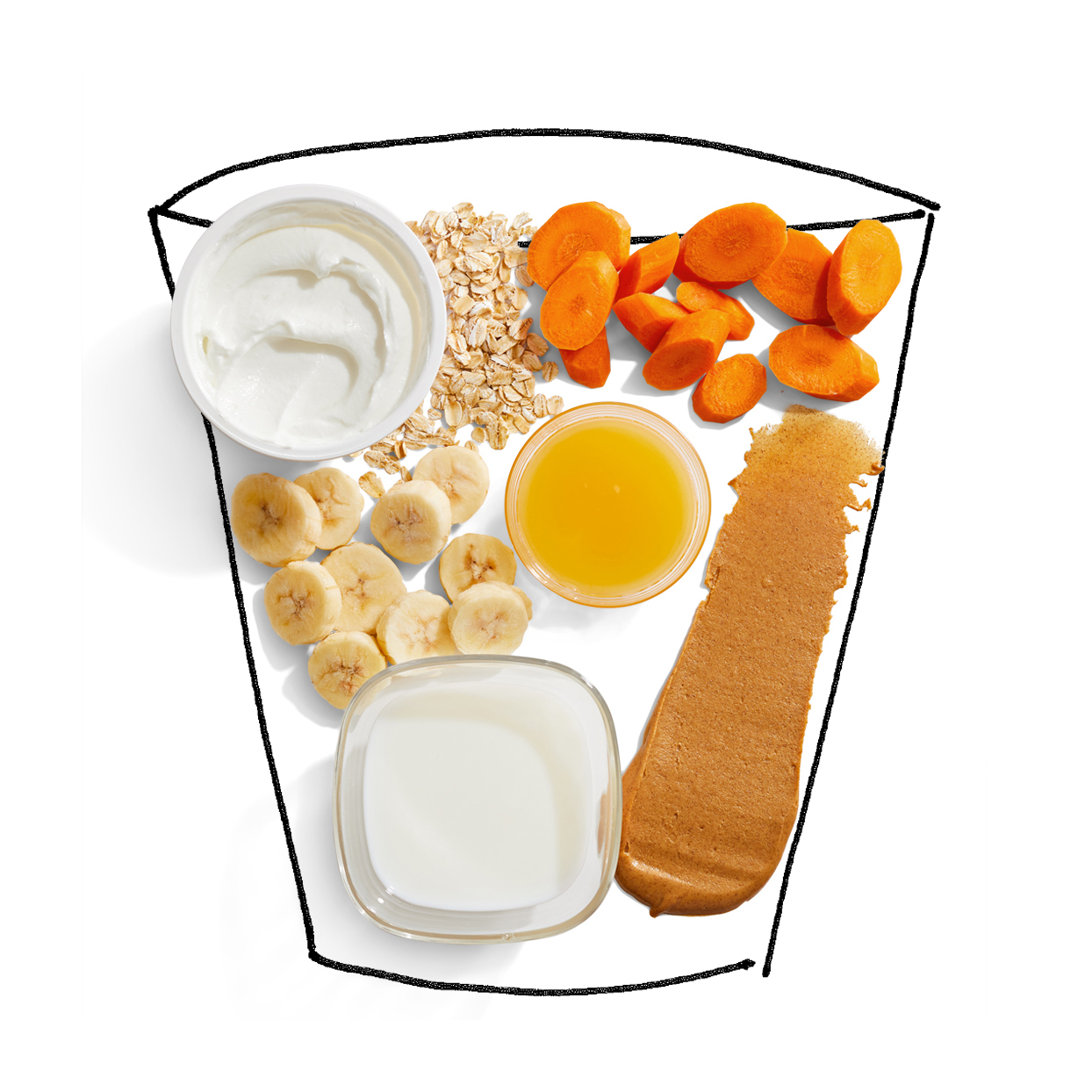 Carrot Cake Smoothies ingredients cup illustration