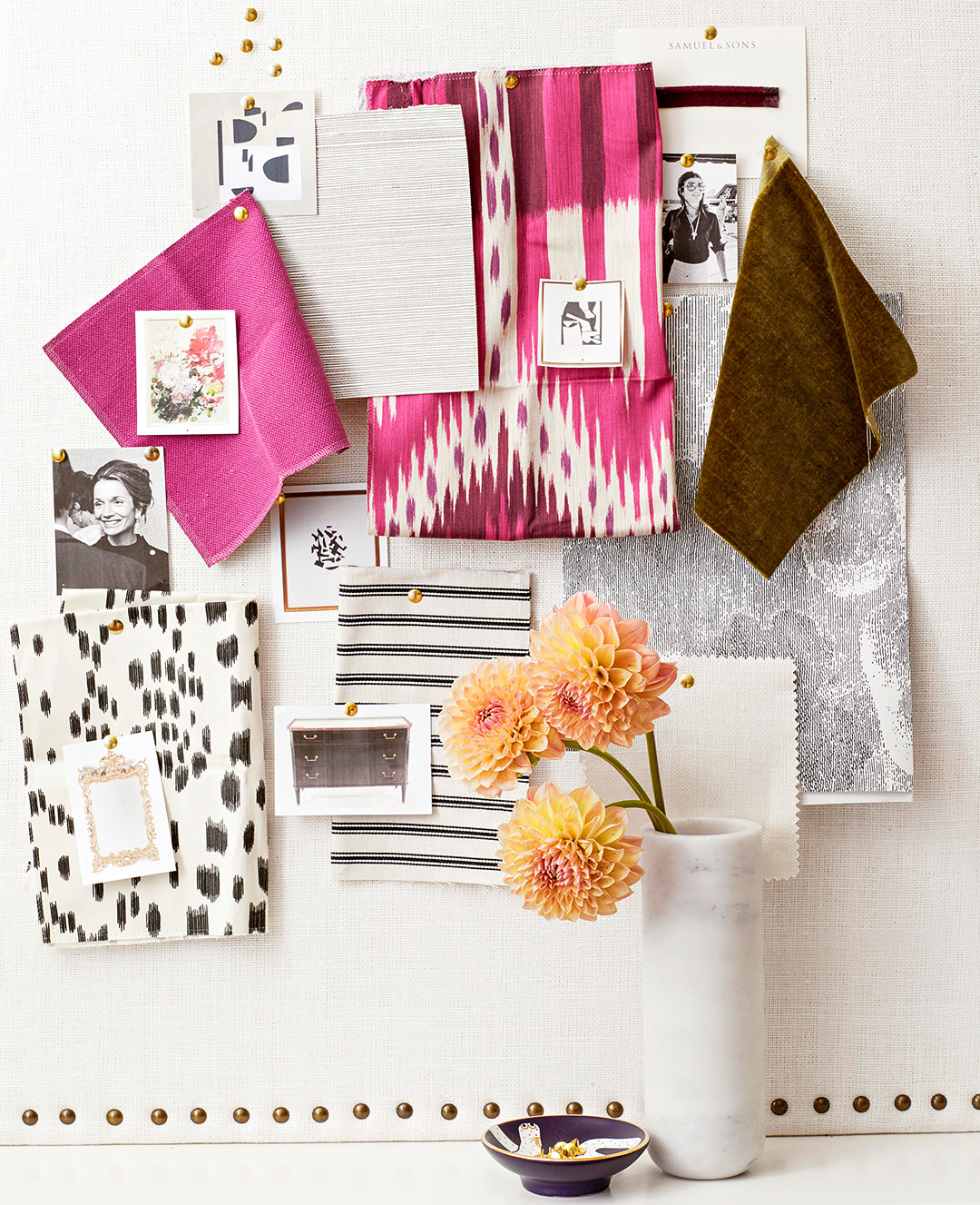 pink and neutral fabric and wallpaper style board
