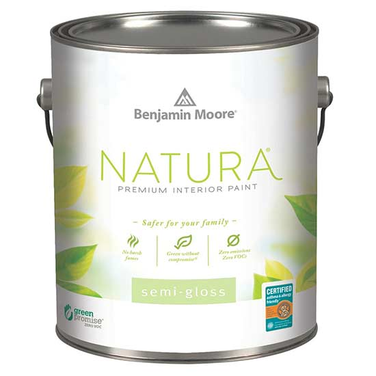 can of benjamin moore semi-gloss natura paint