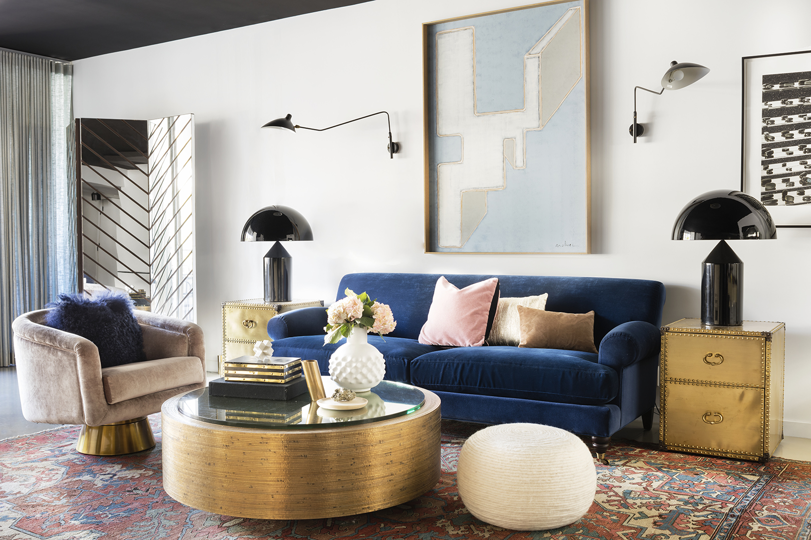 brass accents and furniture in modern living room