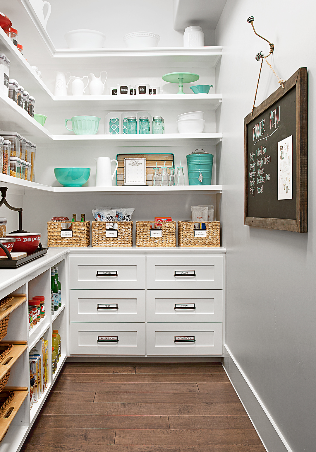 work cook kitchen tour organize pantry shelving drawers white