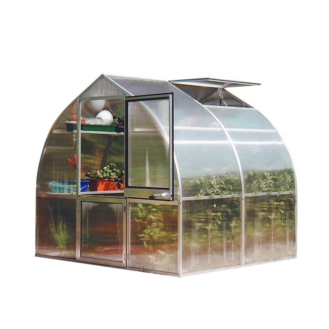 sloped roof glass greenhouse metal frame