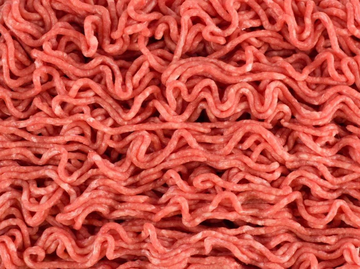 Pile of raw ground beef
