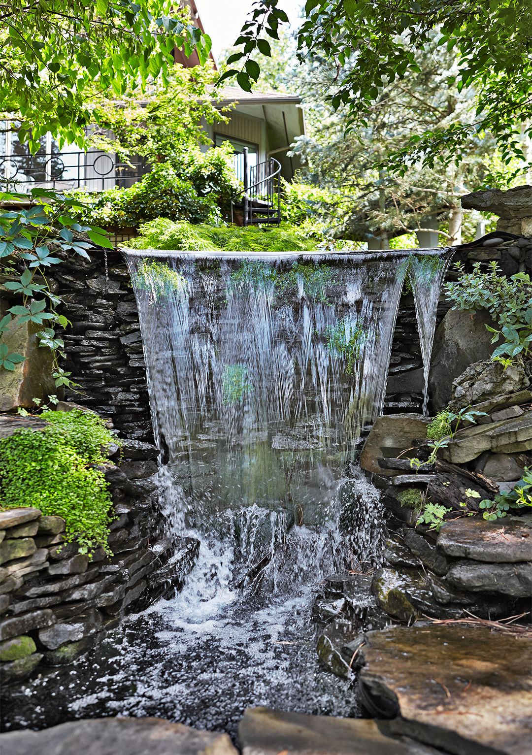 asian-style serenity garden waterfall feature