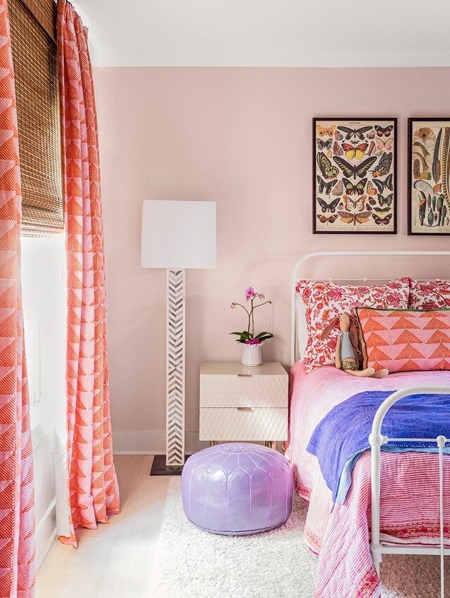 pink and orange accent bedroom