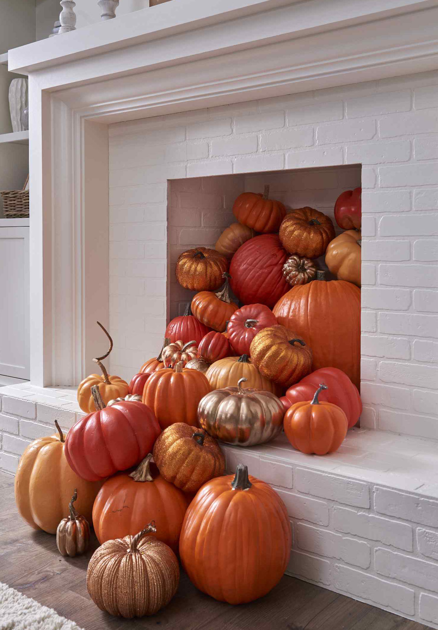 Indoor Halloween Party Decor Metallic Pumpkins in a Fireplace