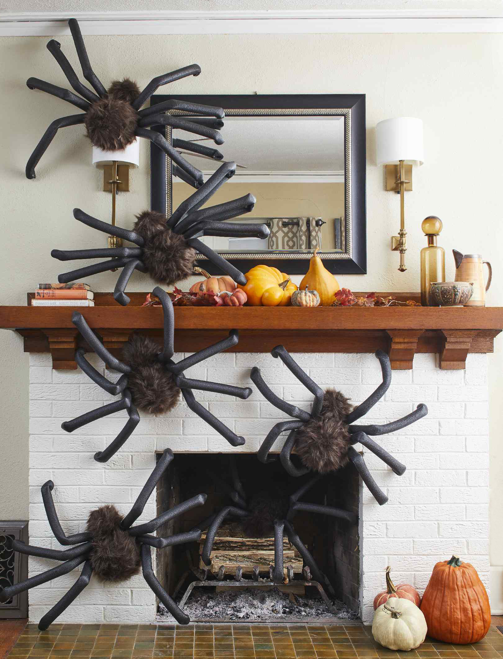 spiders on fireplace mantel
