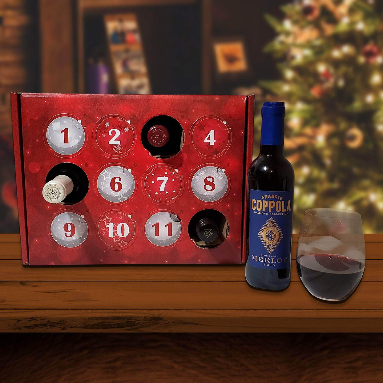 Give Them Beer Wine Advent Calendar on table with glass of wine