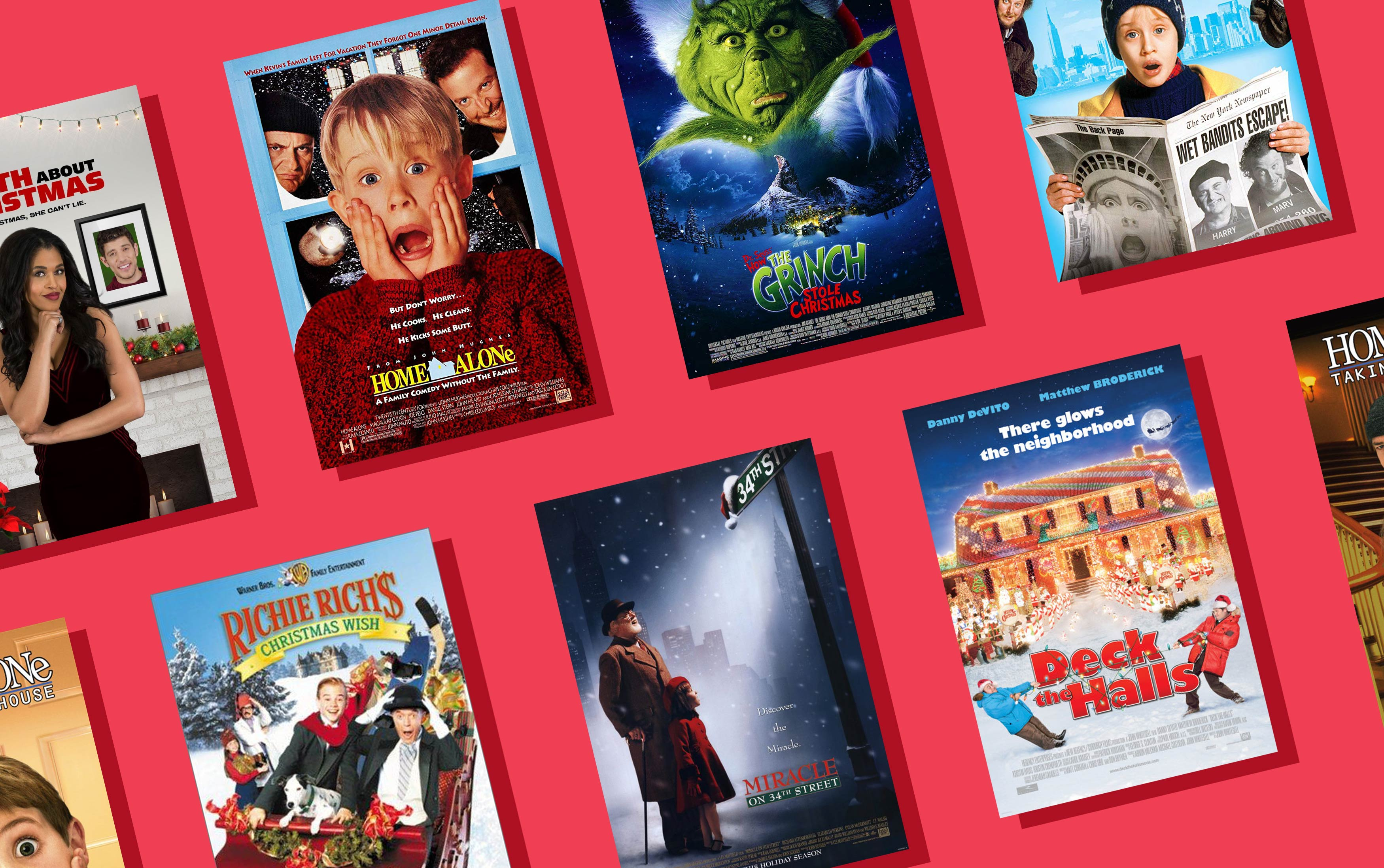 eight christmas dvd covers on a red background