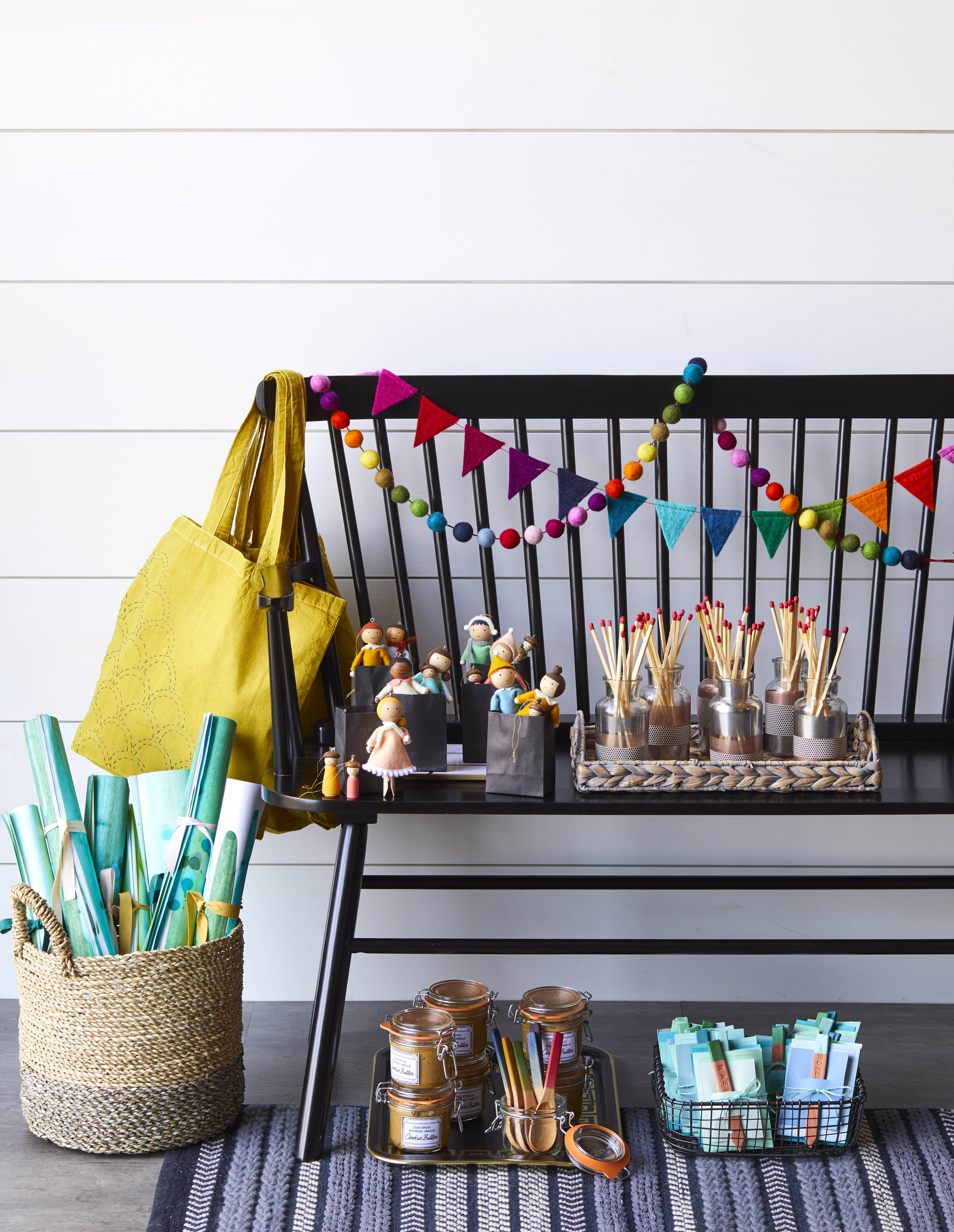 Christmas gifts and crafts on a black bench