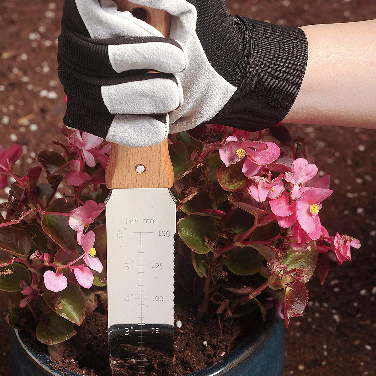 stainless steel gardening knife pot of pink flowers