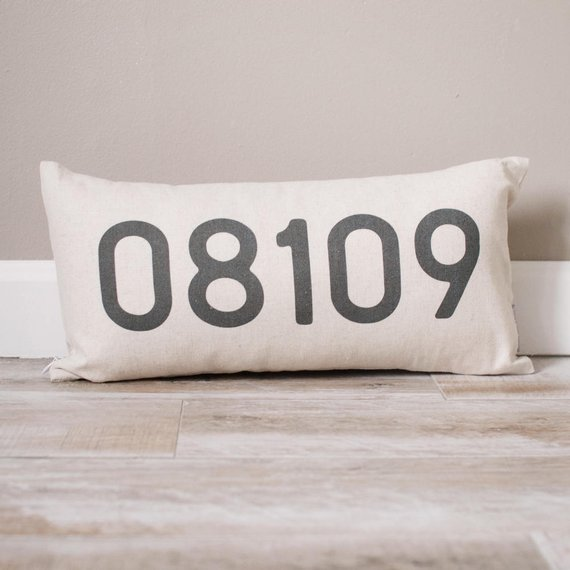 personalized pillow with zip code numbers
