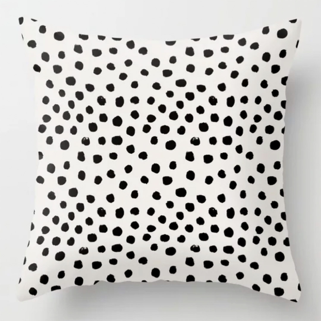 black and white polk dot pillow