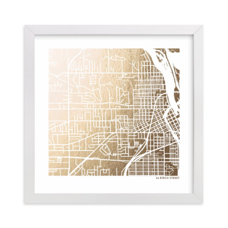 custom street view gold foil art map