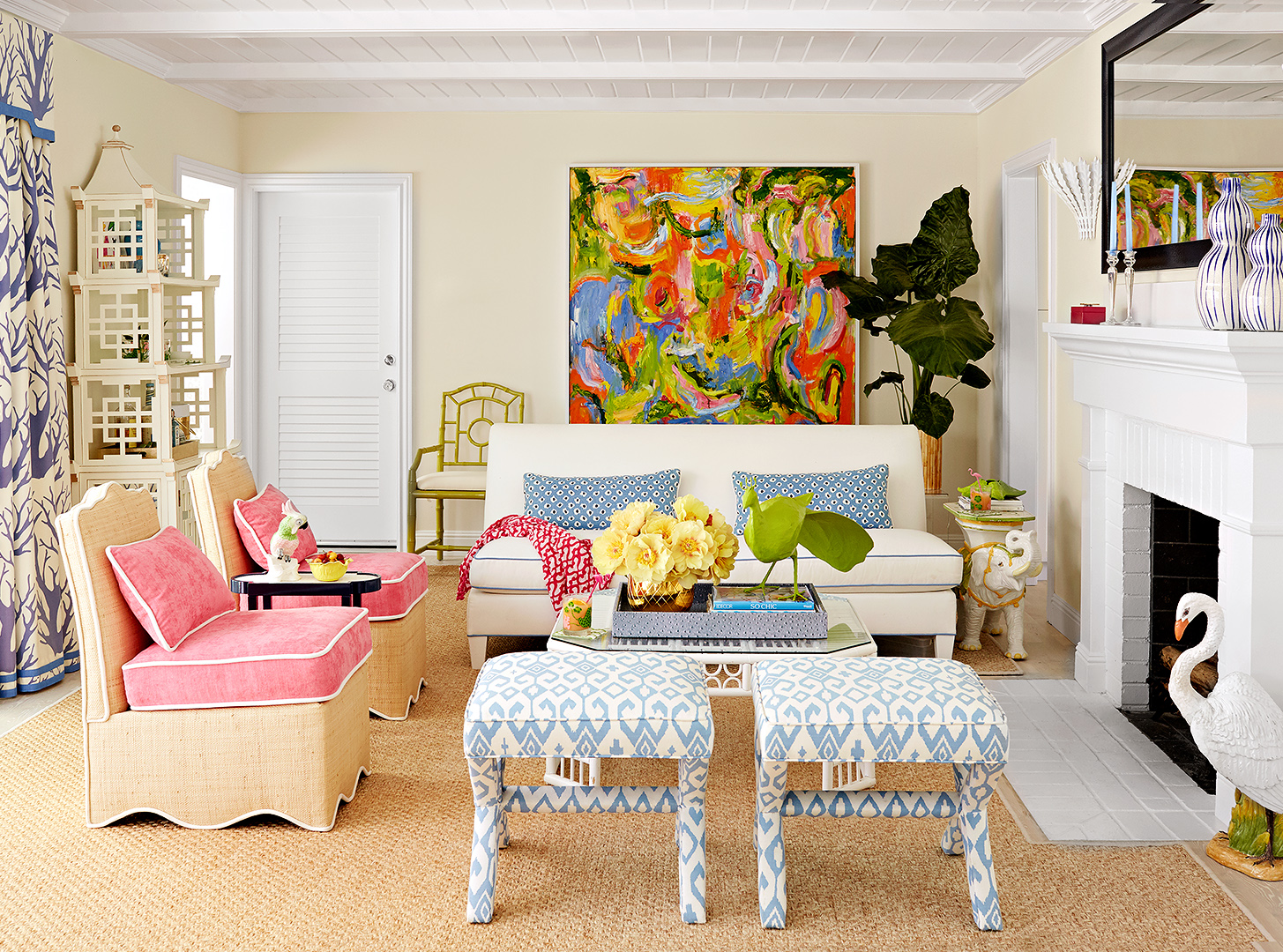 colorful california house tour living room chairs artwork