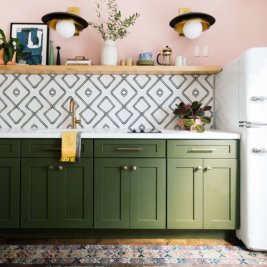Dabito One Room Challenge kitchen with green cabinets and pink walls