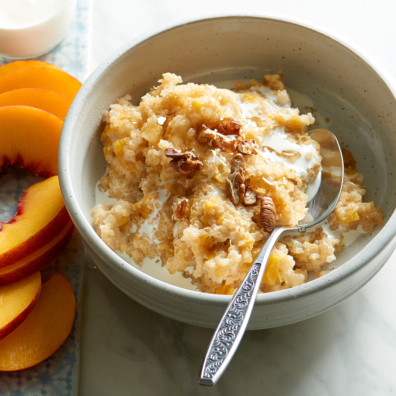 peaches and cream quinoa breakfast