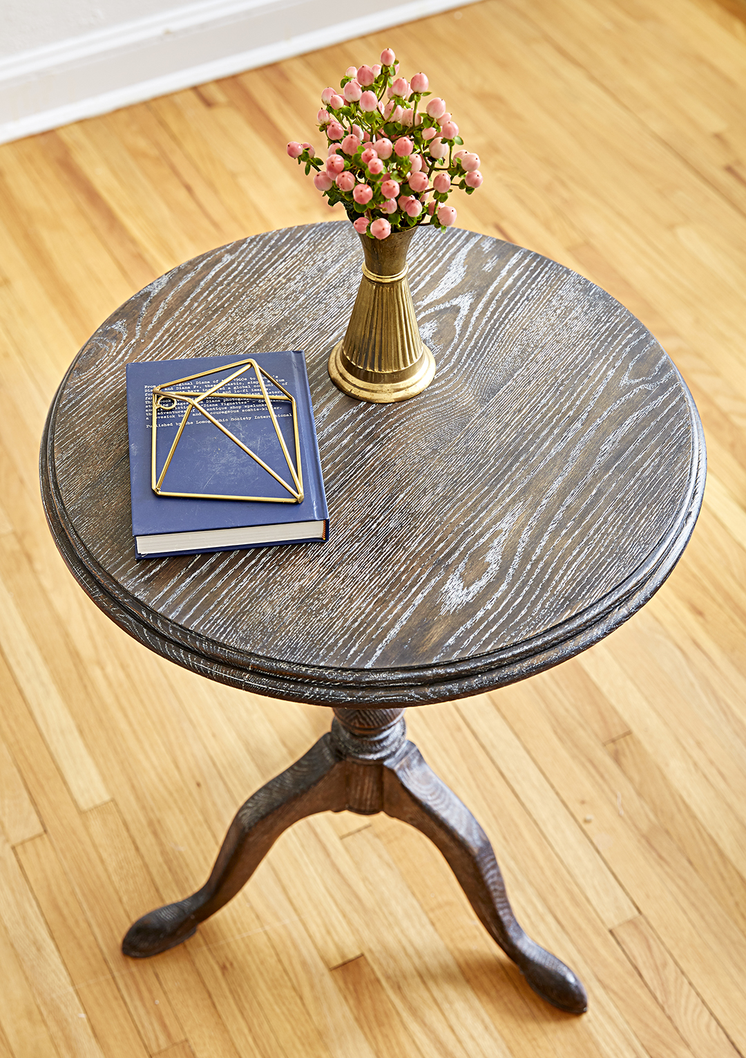 refurbished table with accented grain