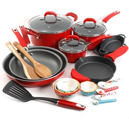 Set of pots, pans, skillets, measuring cups, and other kitchen tools