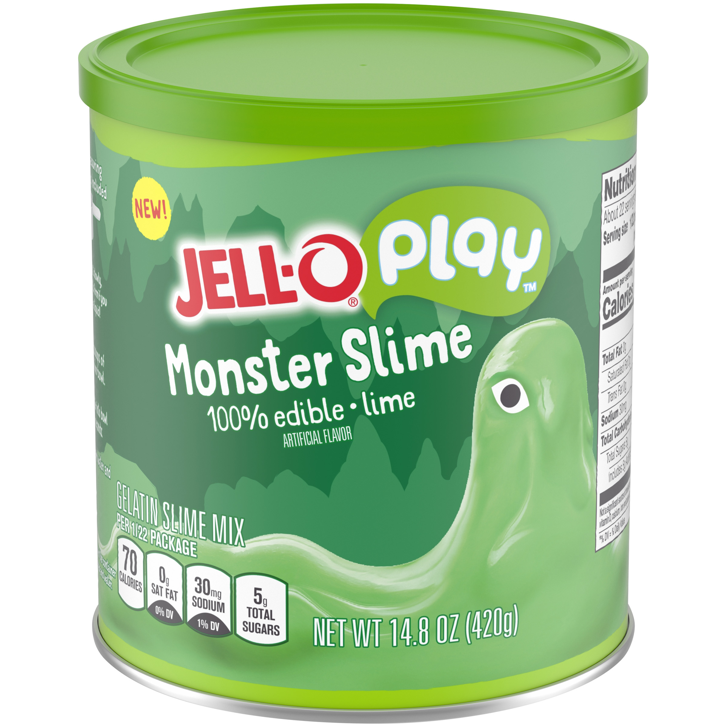 Canister of JELL-O edible slime in lime