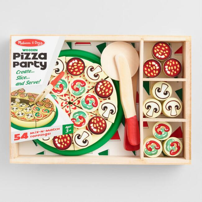 melissa and doug wooden toy pizza party play set
