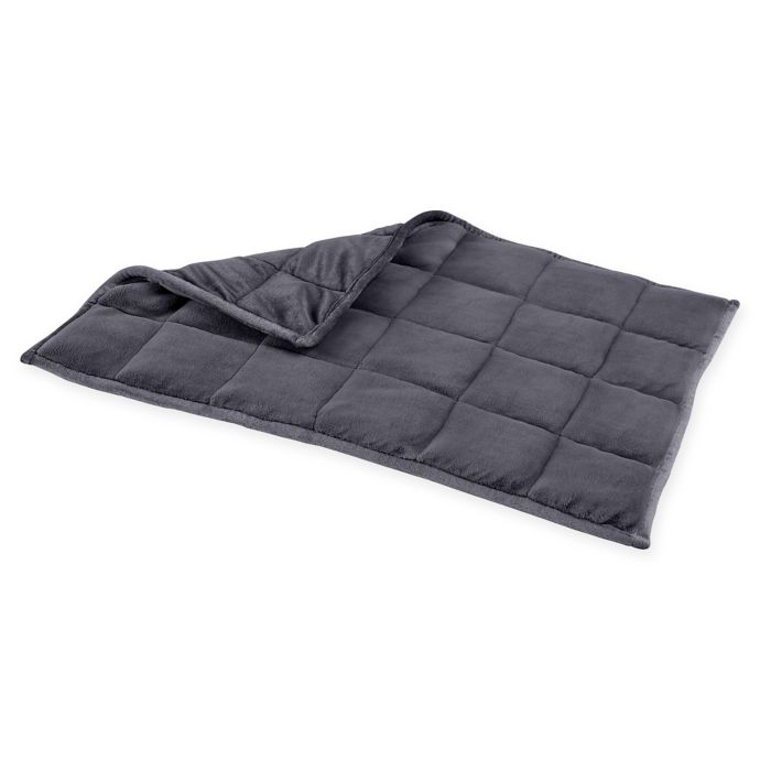 Dark gray quilted weighted blanket