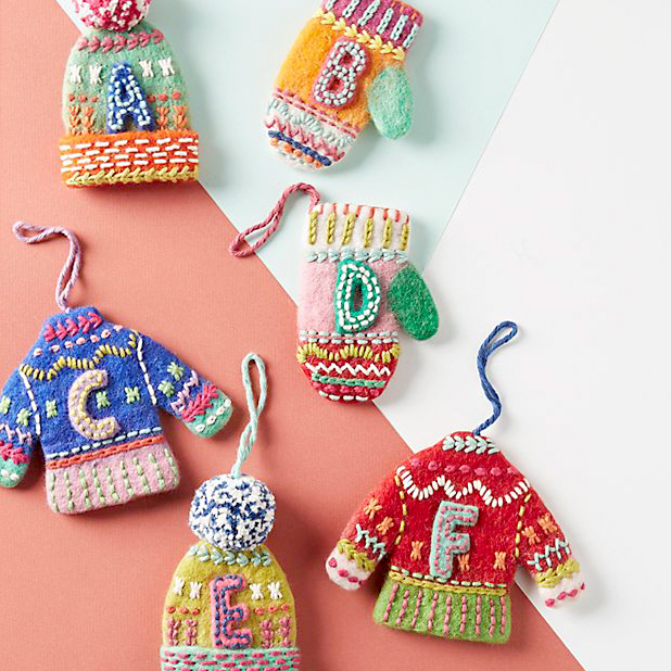 sweather monogram ornaments from anthropologie