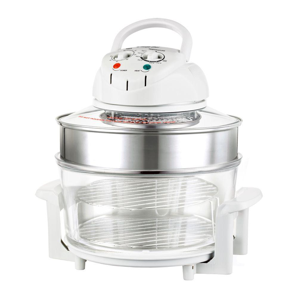 White Home Depot Magic Chef Convection Countertop Oven with clear cooking container with two racks
