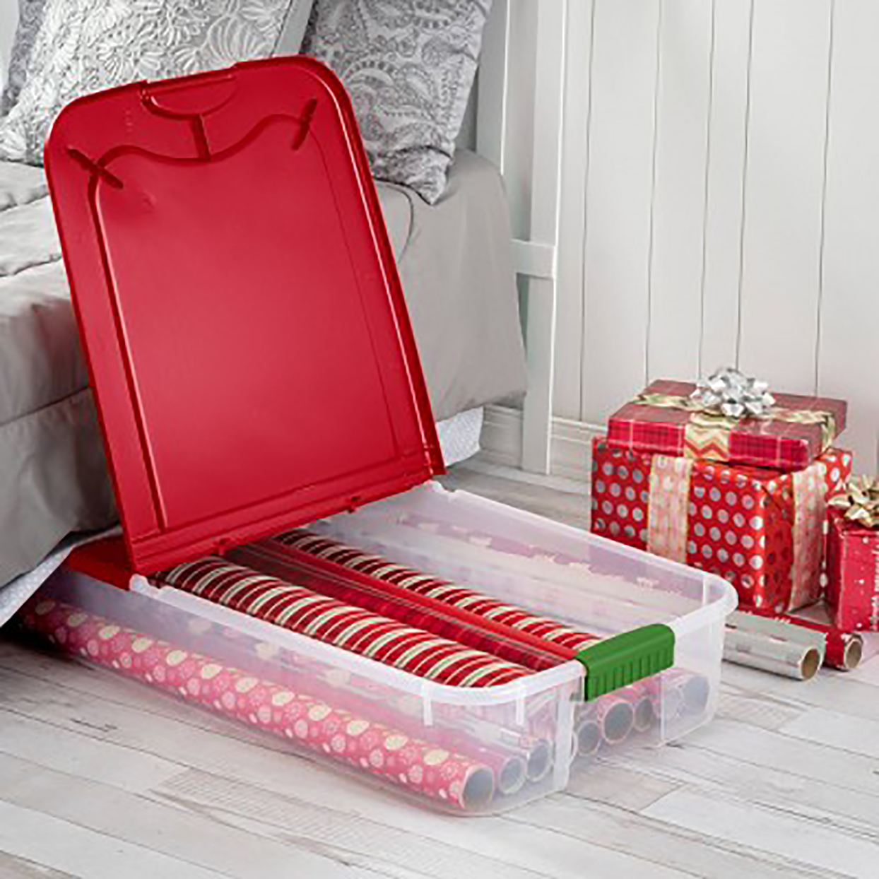 plastic underbed storage bin with red lid