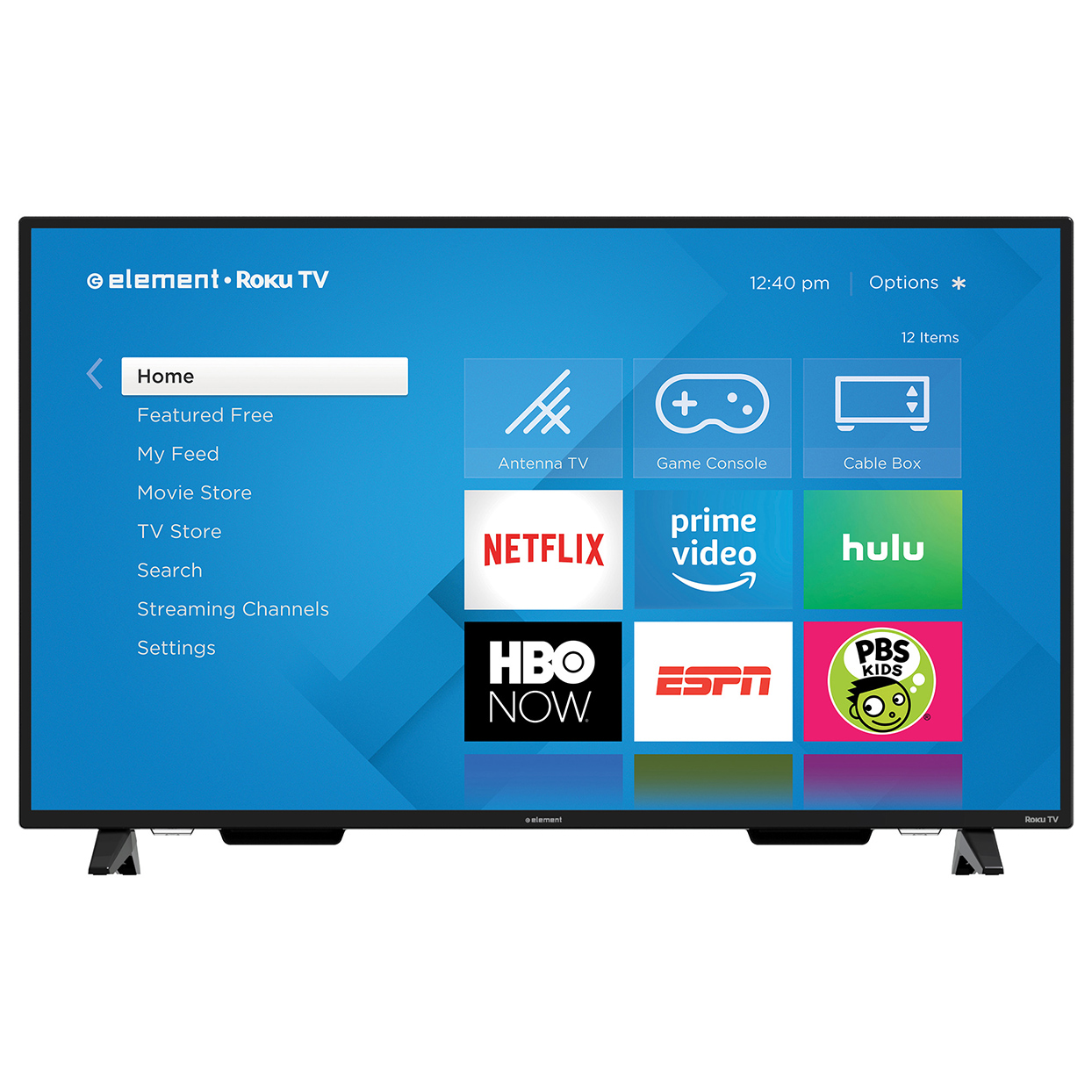 smart tv with blue screen showing apps
