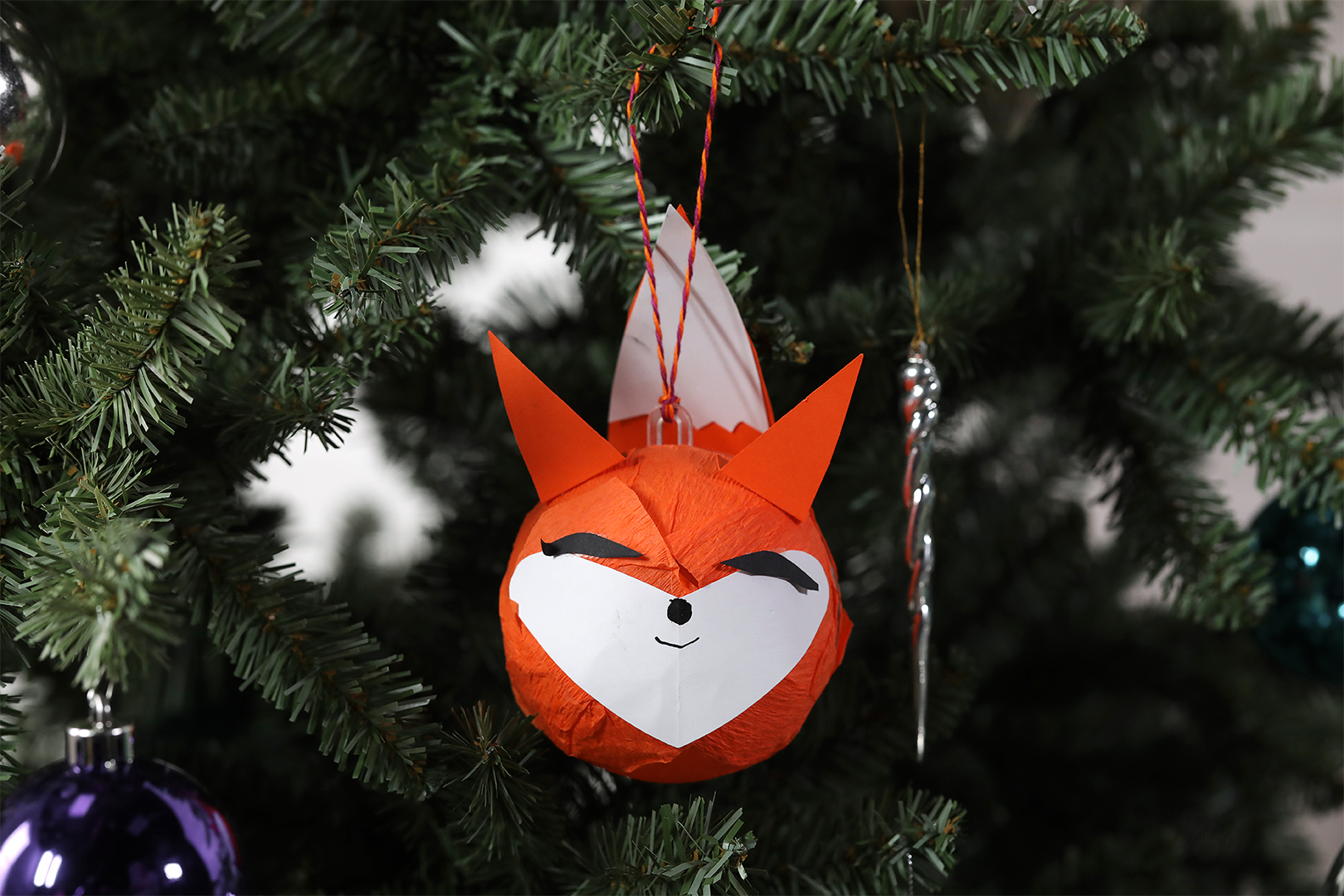 Holiday Fox Popper christmas ornament
