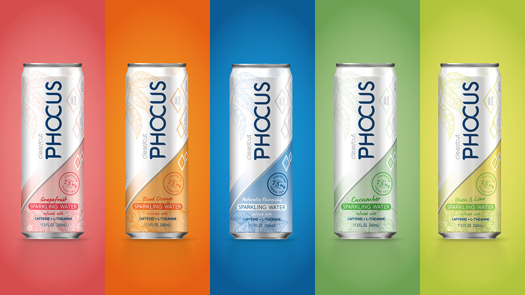 5 cans of Phocus caffeinated sparkling water on colored backgrounds